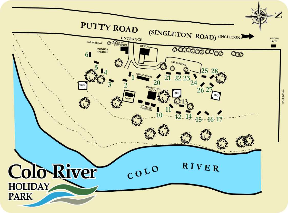Park Map Colo River Holiday Park - Colo river map